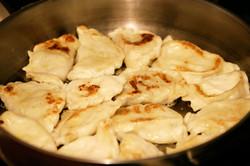 Pierogi frying