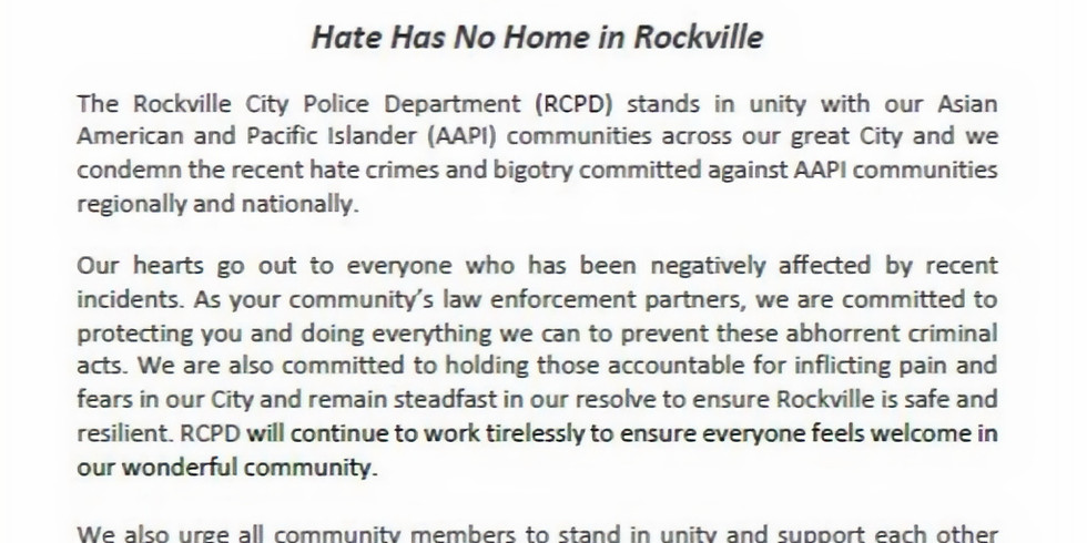 A message from the Chief- Rockville City Police Department