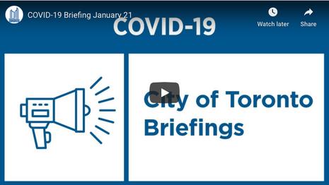 City of Toronto COVID-19 Briefing | January 21