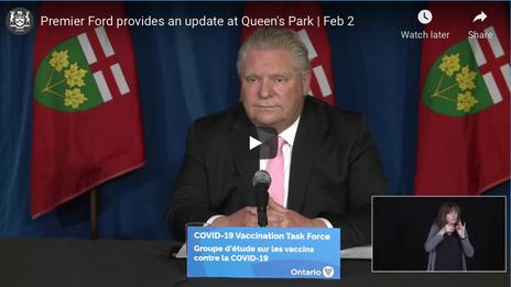 Ontario Premier Doug Ford Provides COVID-19 Update   February 2