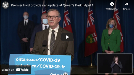 Premier Ford provides an update at Queen's Park | April 1
