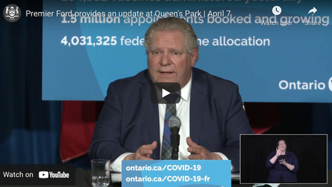 Premier Ford provides an update at Queen's Park | April 7