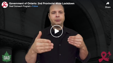 Government of Ontario: 2nd Provincial-Wide Lockdown - ASL