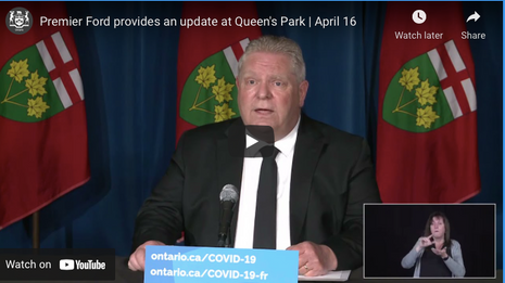 Premier Ford provides an update at Queen's Park   April 16