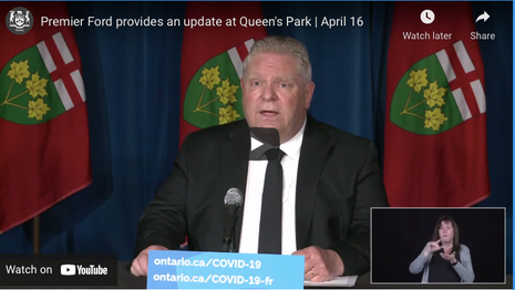 Premier Ford provides an update at Queen's Park | April 16