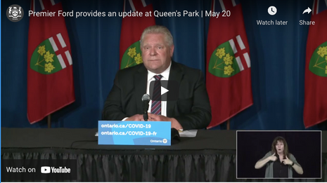Premier Ford provides an update at Queen's Park   May 20