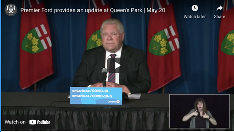 Premier Ford provides an update at Queen's Park | May 20