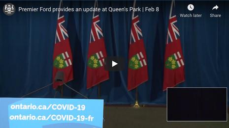 Ontario Premier Doug Ford Provides COVID-19 Update   February 8