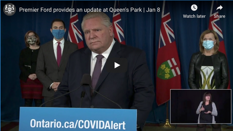 Ontario Premier Doug Ford Provides COVID-19 Update | January 18