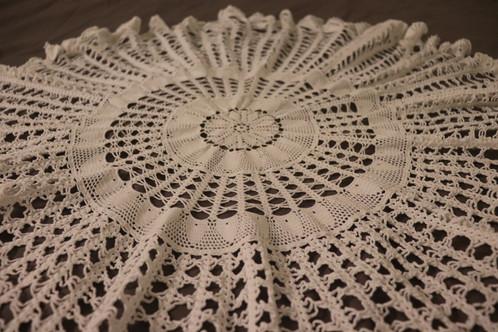 White Fully Handmade Crochet Tablecloth
