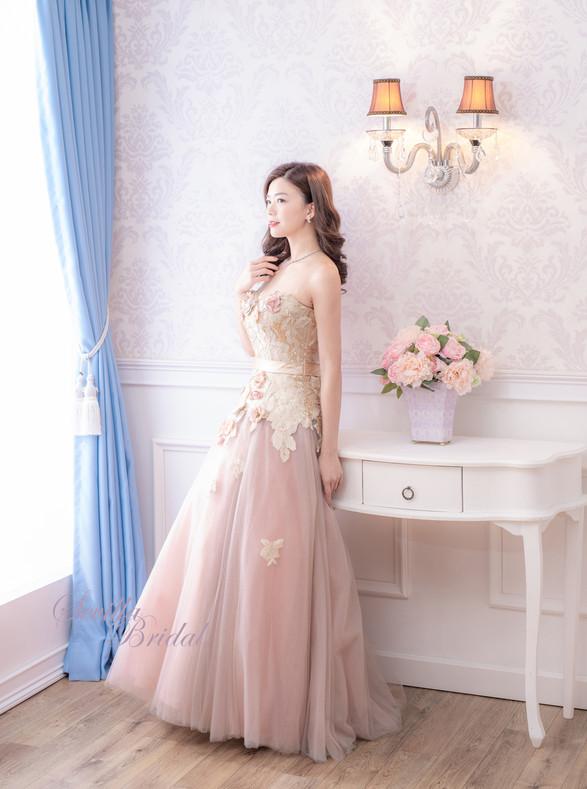 心型胸金粉色A-Line晚裝