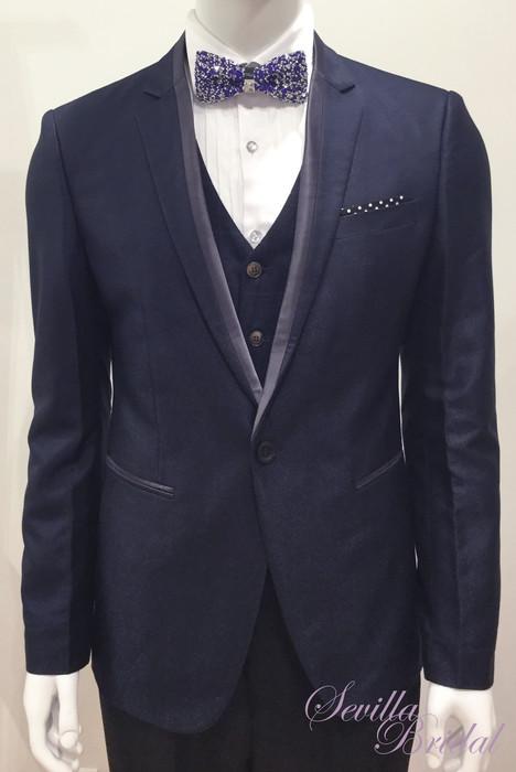 藍色波點袋巾十字領平腳禮服.jpg