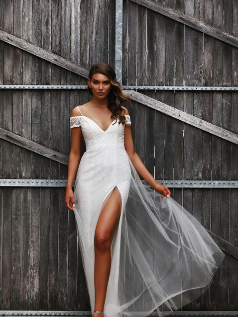 JA Cindy Bardot Ivory Gown