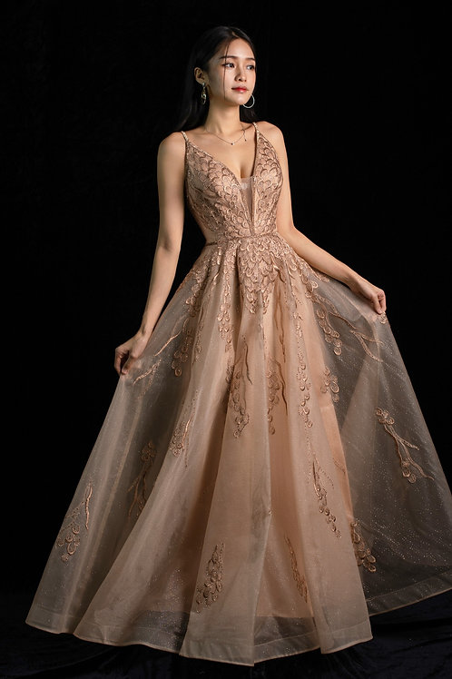 S Rhea Blossom Rose Gold Gown