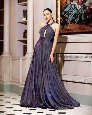 JA Astral Halterneck Purple Gown