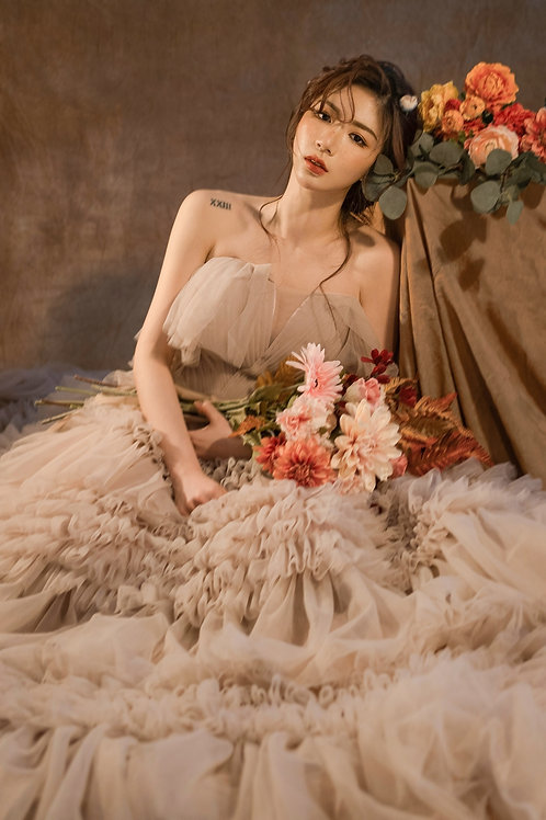 Audrey Dusty Pink Ruffle Gown