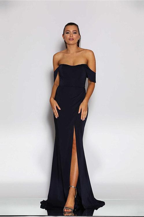 JA Jennifer Navy Bardot Gown