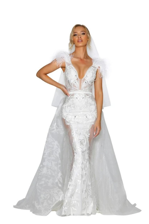 PS Fufu White Gown with detachable overskirt