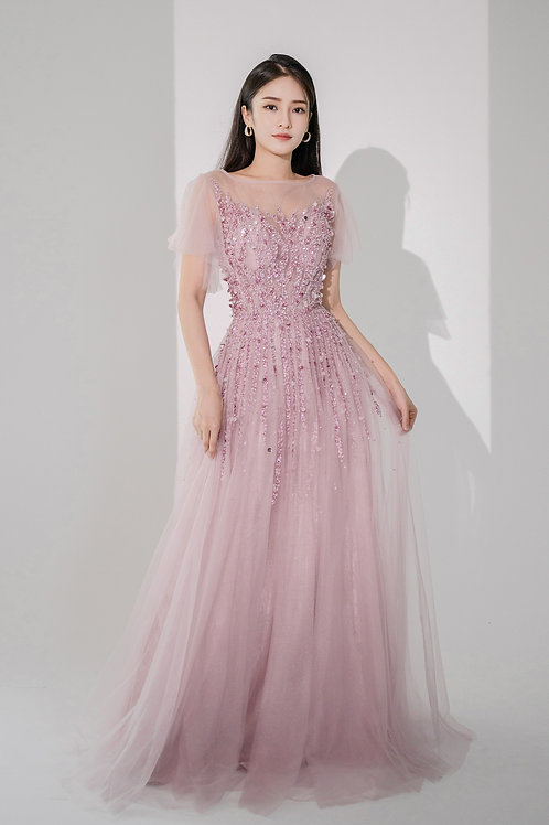 Azalea Flutter Sleeves Mauve Gown