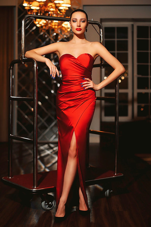 JA Genevieve Sweetheart Ruby Gown