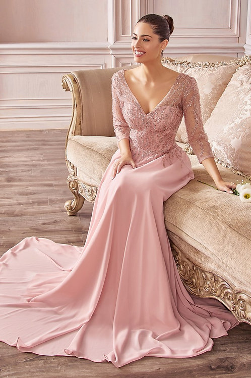 CD Donna Long Sleeves Chiffon Gown Dusty Rose
