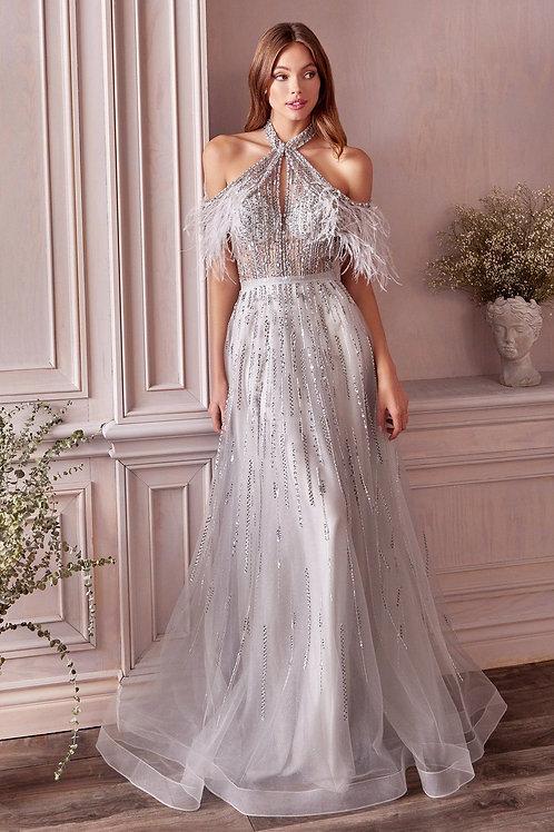 AL Anastasia Feather Gown Silver