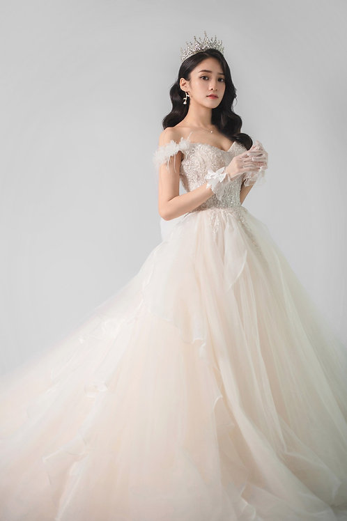 S Micah Ethereal Ruffle Gown