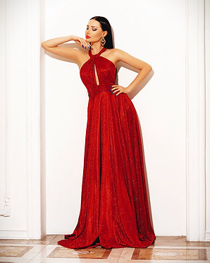JA Astral Halterneck Red Gown