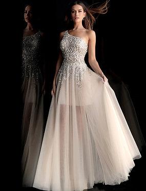 J Minerva Crystal One Shoulder Gown