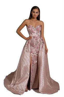 PS Fleur Blush Gown w Detachable Overskirt
