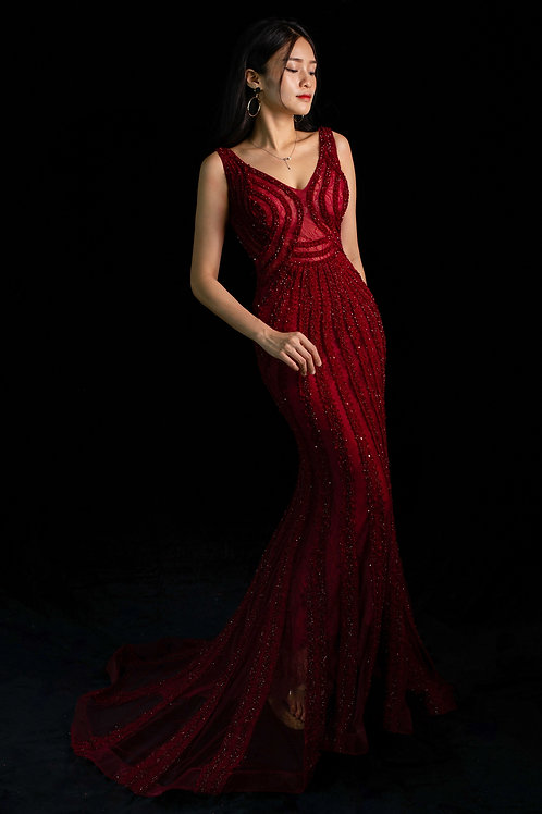 S Red Eira Mermaid Gown