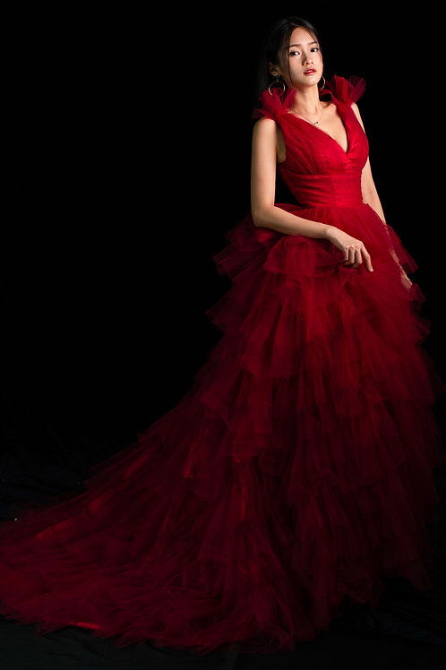 S Red Swan Ruffle Gown