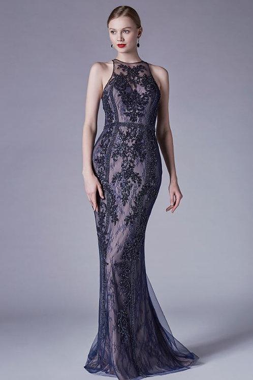 AL Elenora Halterneck Gown Navy