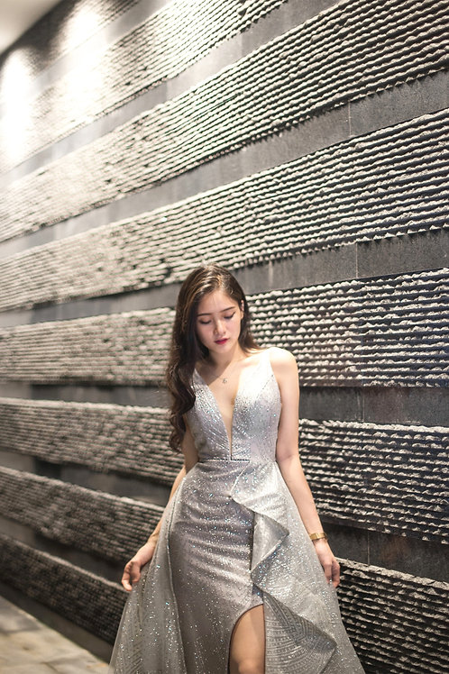 H Silver Gown w Overskirt