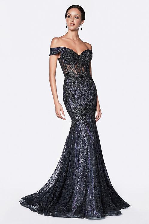 CD Jolie Lace Gown Black Lilac