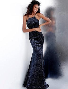 J Halterneck Black Blue Gown