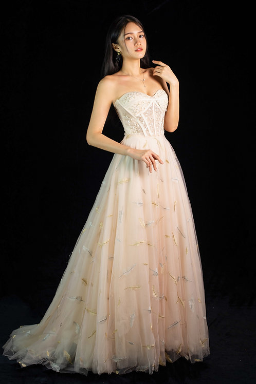 Aella Champagne Sweetheart Gown