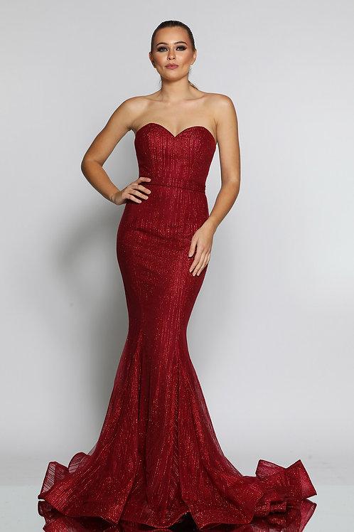 JA Zinnia Sweetheart Glitter Red Gown