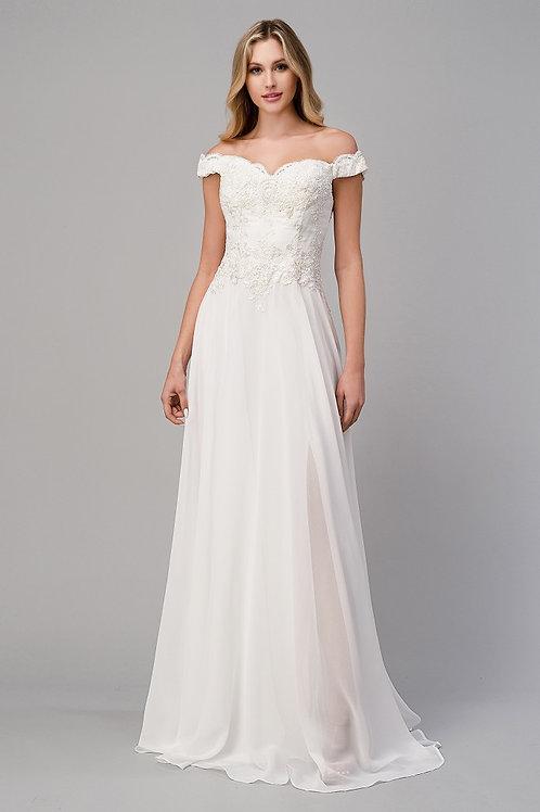 CD Ivory Chiffon Bardot Gown
