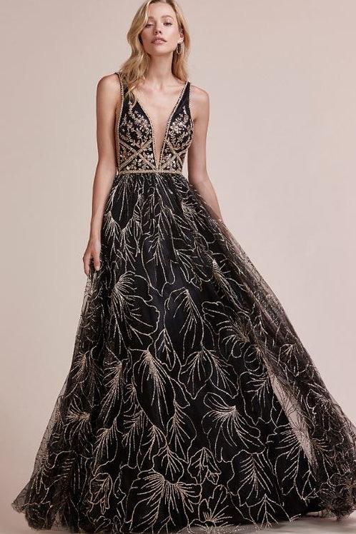 AL Zinnia Black Gold Gown