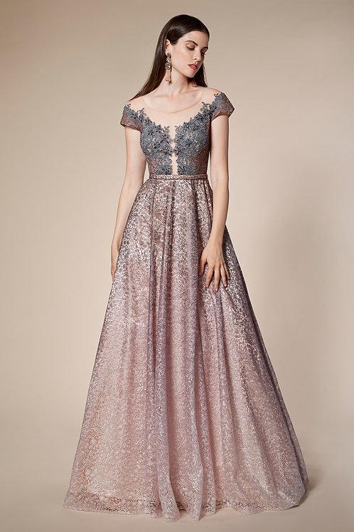 AL Illusion Off Shoulder Ombre Gown
