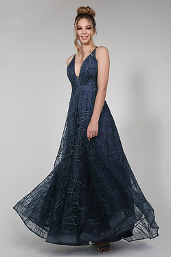 H Aphro Flare Gown Navy