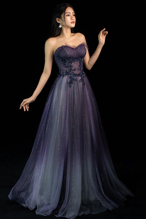 S Galina Purple Ombre Gown