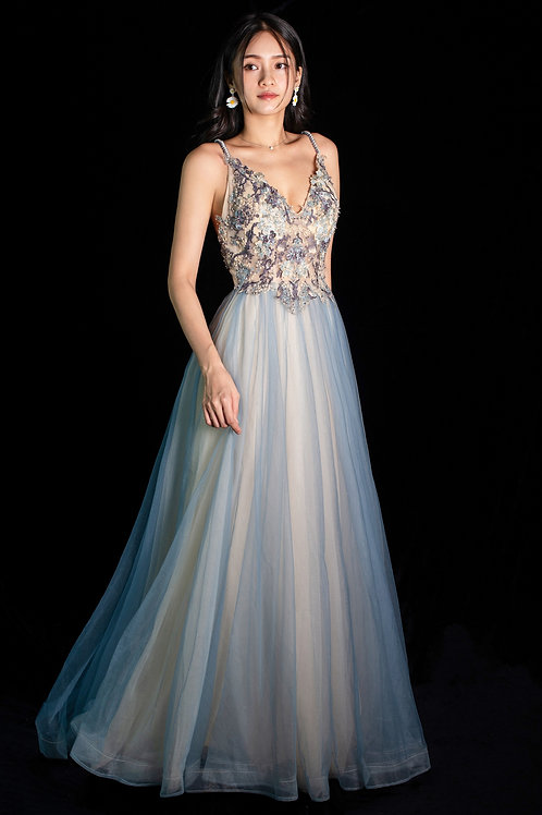Periwinkle Crossback Gown