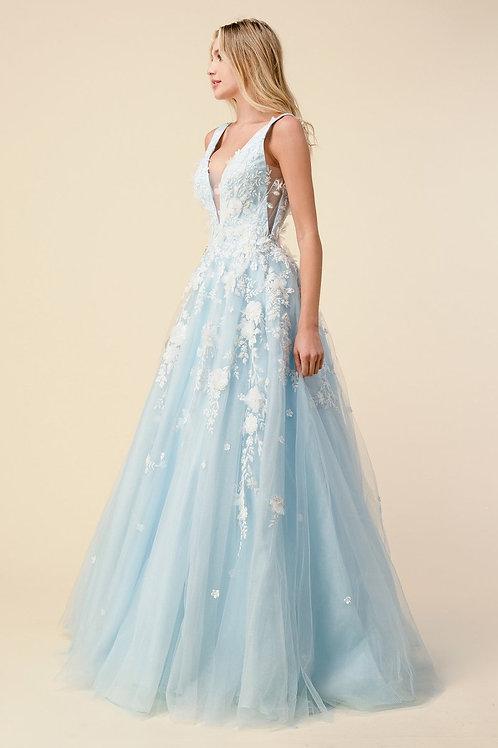 AL Gardenia Ballgown Blue