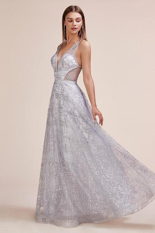 Al Rhinestone Silver Gown