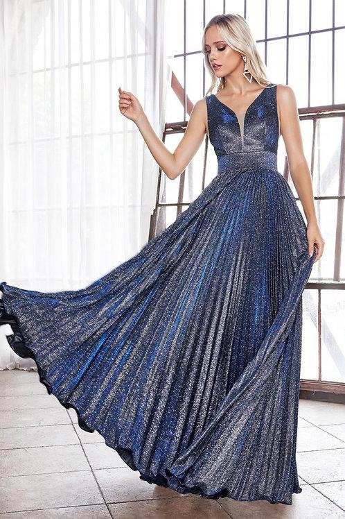 CD Krystine Navy Stardust Pleated Gown