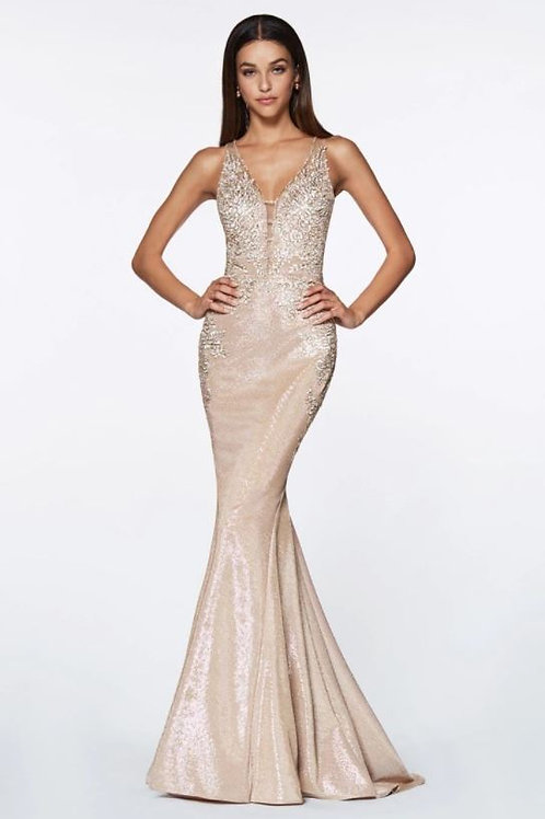 CD Metallic Gold Floral  Gown