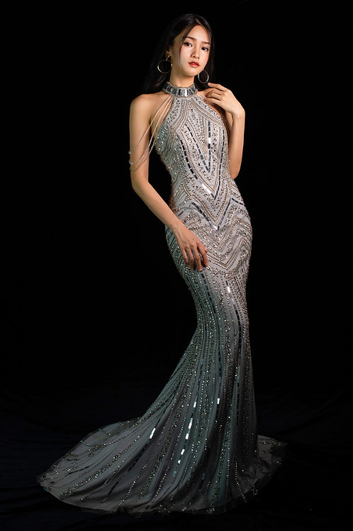 S Silver Gatsby Gown