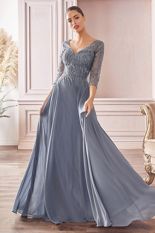 CD Donna Long Sleeves Chiffon Gown Smoky Blue